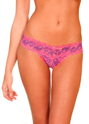 R R Crotchless Lace V-Thong Pink S/M