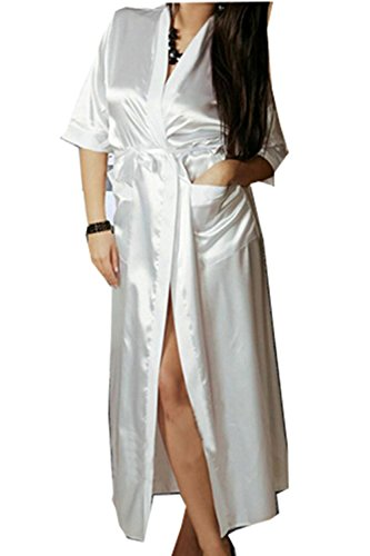 Generic Women Silk Kimono Long Stain Dressing Bath Robe Babydoll Lingerie Nightdress (L, White)