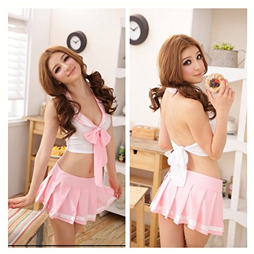 Casualfashion Sexy Pink Girl Students Lingerie School Uniforms Cosplay Outfit Dress