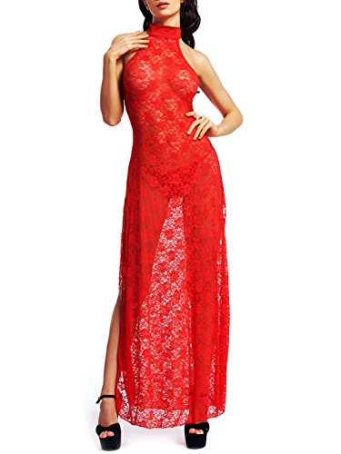 Amoretu Women's Sheer Floral Lace Long Cheongsam Side Split Lingerie Gown