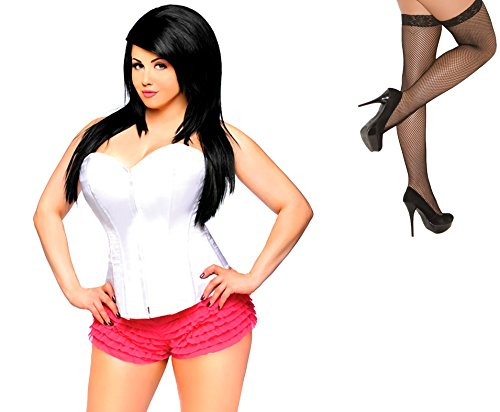 Bundle 2 Items: Daisy's Overbust Corset Zip Up Front White 3X and Fishnet Stocking M75B
