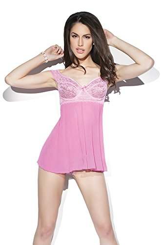 Coquette Women's Bubblegum and Baby Pink Baby Doll and G-String