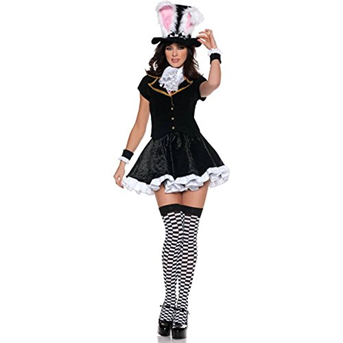 Women's Sexy Mad Hatter Costume – Totally Mad, Black/White, Small