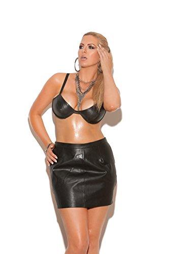 Elegant Moments Underwire leather bra w/ adjustable straps L5108X (BLACK,40)