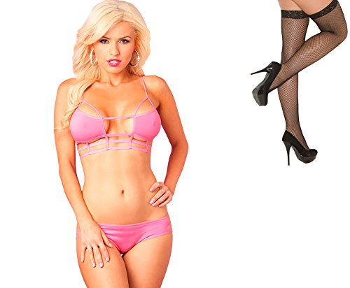 Bundle 2 Items: P Lipstick Microfiber Cage Top Bra & Panty Set Pink S/M and Fishnet Stocking M75B