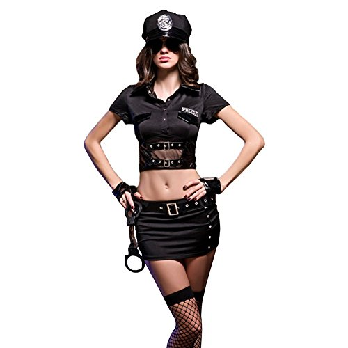COCO RUNA Cool Black Womens Police Costume Lingerie 9 Piece Set