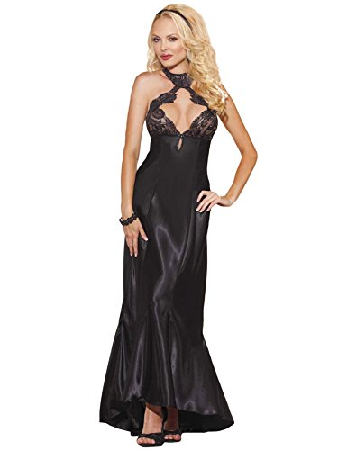 Sexy Long Black Night Gown with Sheer Lace Cups and Lace Up Back Women Lingerie