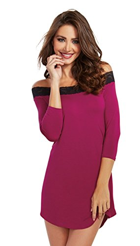 Dreamgirl Women's Cotton and Spandex Jersey Sleep Tunic Dress with Lace Trim