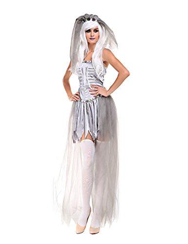Ninimour- Women's Dead Bride Ghostly Halloween Costumes (Medium, bride of Doom)