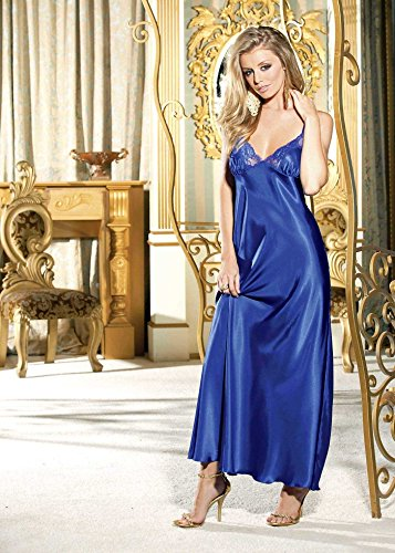 Shirley of Hollywood SOH-20300, Charmeuse and lace long gown. Blue L