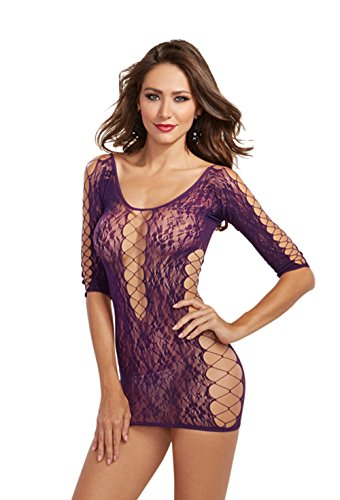 Dreamgirl Women's 3/4 Sleeve Seamless Lace Tunic Dress with Sexy Criss-Cross Detail