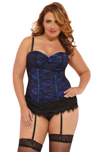 Plus Size Underwire Lace Overlay Bustier Lingerie