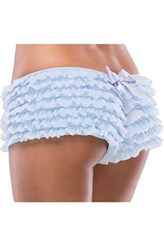 Full Figure Lingerie Plus Size Ruffle Blue Boyshort Panties – Fits Size 18-22