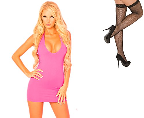 Bundle 2 Items: PL Two-Way Halter Dress Pink S/M and Fishnet Stocking M75B