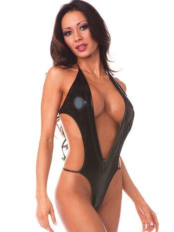 V Cut Black Foil G String Bikini – ONE SIZE