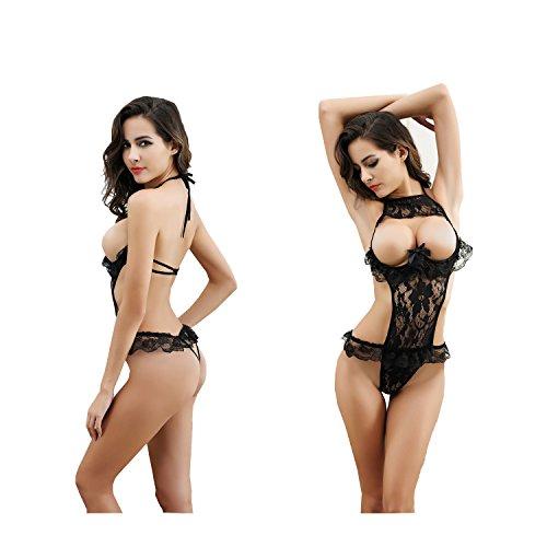 Beurio Women Sexy Lingerie Sets, Sheer Mesh Lace Cupless Sexy Babydoll Sleepwear Lingerie Set