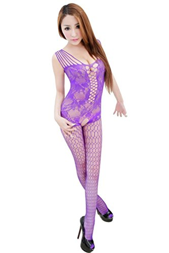 Ninimour Women's Industrial Net Crotchless Bodystocking (01:Purple)