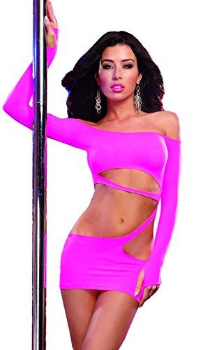 Dreamgirl Women's Seamless Long-Sleeve Dancewear Mini Dress