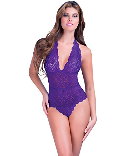 Oh la la cheri Halter Lace Teddy w/Snap Crotch Purple O/S