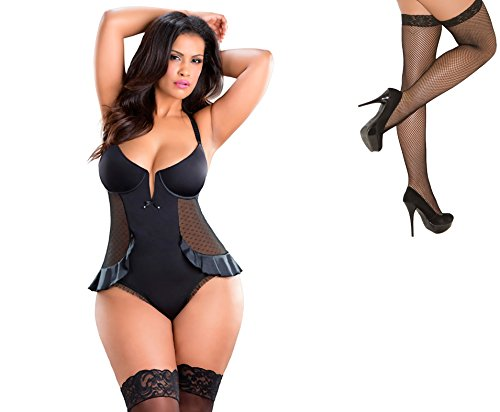 Bundle 2 Items: Oh la la cheri V-Plunge Satin Skirted Teddy Snap Crotch Black 1X and Fishnet Stocking M75B