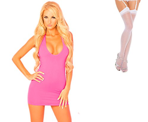 Bundle 2 Items: P Lipstick Two-Way Slashed Halter Dress Pink M/L and Sheer Thigh M25W
