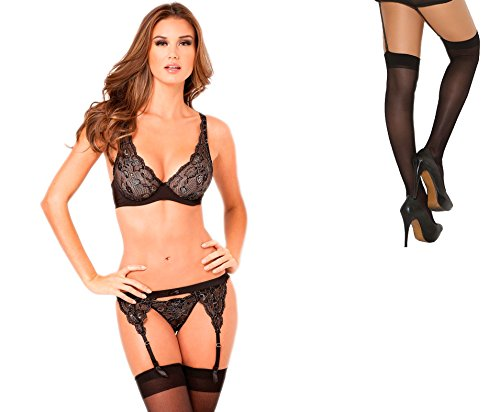 Bundle 2 Items: R R Lux Lace Garter & Thong Set Black S/M and Sheer Thigh M25B