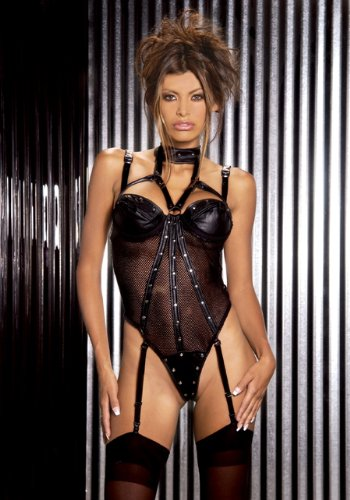 Plus Size Leather And Fishnet Teddy