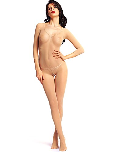 Amoretu Womens Stretchy Long Sleeves Crotchless Bodystocking Lingerie