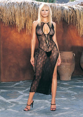 Leg Avenue Women's 2 Piece Swirl Lace Long Dress with Lace Up Front with G-String