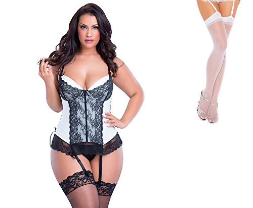 Bundle 2 Items: Oh la la cheri Molded Cup Bustier & G-String Black/Ivory 1X and Sheer Thigh M25W