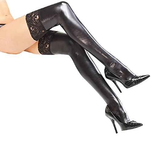 SmallDragon Women's Lingerie Black Lycra Wet Look Thigh High Stockings With Lace Back