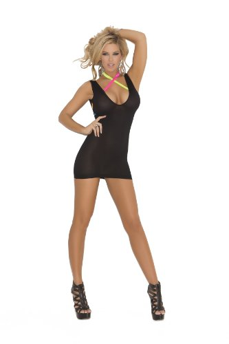 Elegant Moments Women's Deep V Opaque Mini Dress with Neon Criss Cross Straps