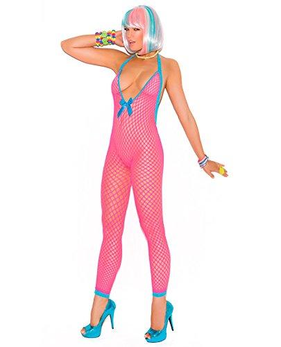 Vivace Crochet Bodystocking w/Peek a Boo Back Neon Pink O/S