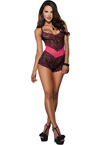 New Dreamgirl Women's Sexy Cross-Dye Lace Cheeky Romper Fuchsia Black S