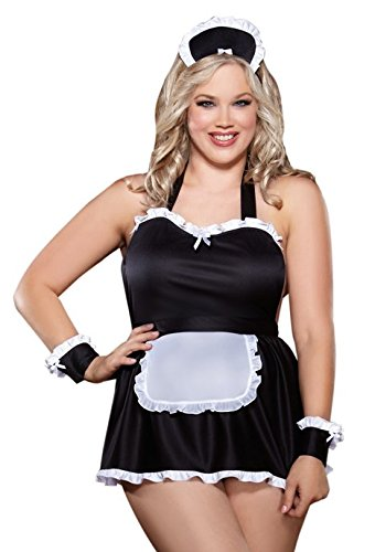 Dreamgirl Women's Plus-Size Maid Me Dirty Babydoll