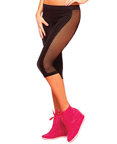 Pink Lipstick Sweat Side Net Stretch Crop Pant Black S/M