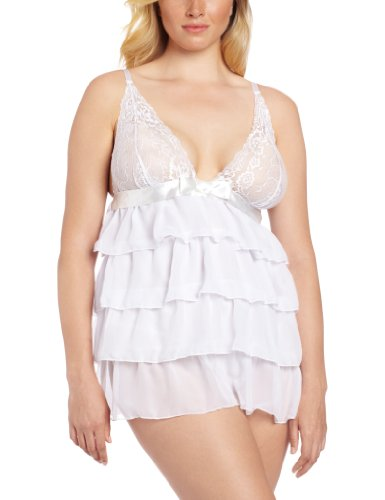 Dreamgirl Women's Plus-Size Bridal Bliss Babydoll