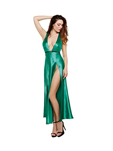 Dreamgirl Women's Satin Gown with Removable Jewelled Pin
