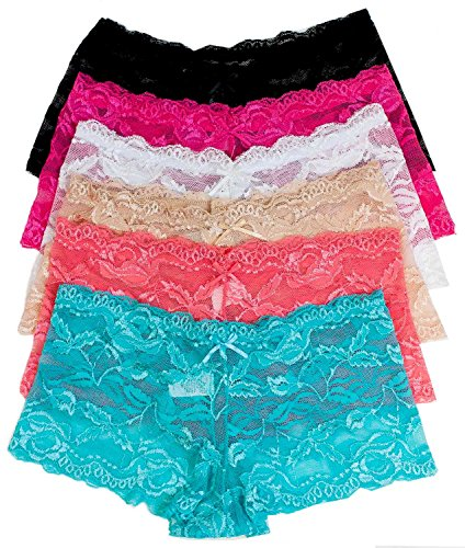 Barbra's 6 Pack of Women's Regular & Plus Size Lace Boyshort Panties