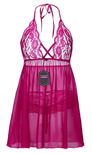 YISABELL Womens Sexy See Through Lingerie Exotic Lace Babydoll Plus Size Sleepwear