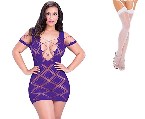 Bundle 2 Items: Oh la la cheri Seamless Stocking Dress Purple Q/S and Sheer Thigh M25W