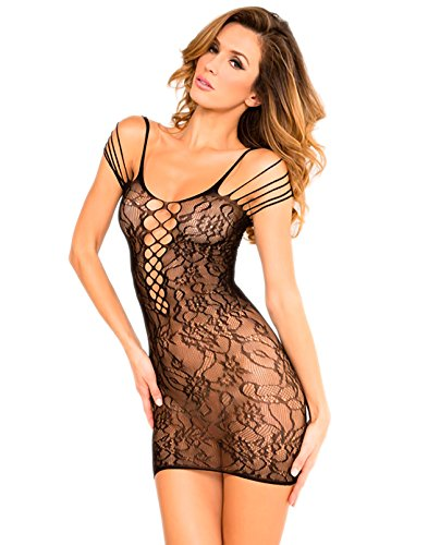 R R Off The Hook Lace Dress Black O/S