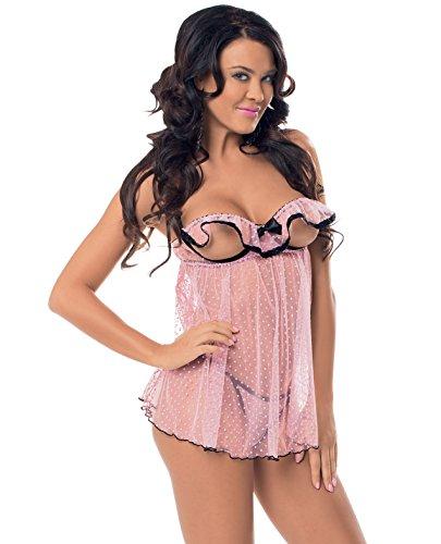 Flutter Open Cup Babydoll Black Trim & Panty Pink O/S
