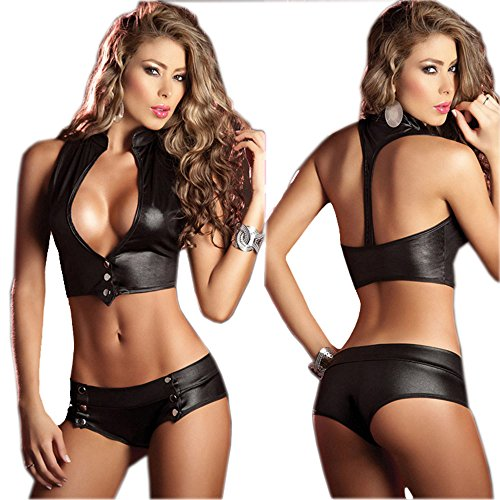 Womens Sexy Black Leather Pole Dancing Open Bra Backless Bodycorn Lingerie Set