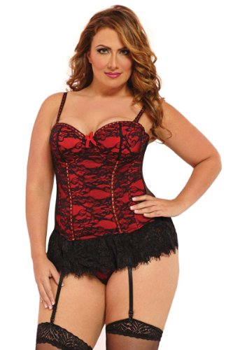 Seven 'til Midnight Victorian Lace Bustier And Thong Set (9103) 3X-4X/red