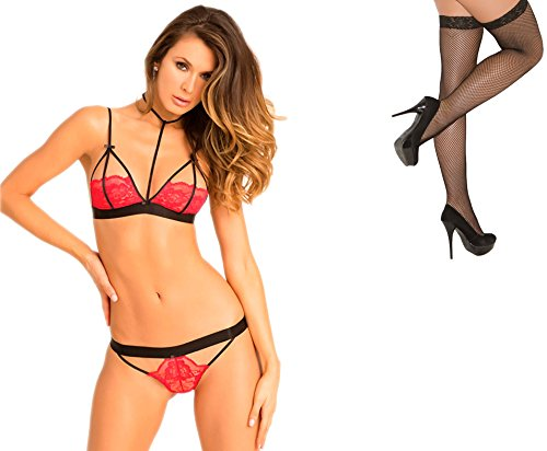 Bundle 2 Items: R R Hot Harness Bra & Panty Red S/M and Fishnet Stocking M75B