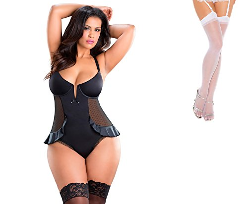 Bundle 2 Items: Oh la la cheri V-Plunge Satin Skirted Teddy Snap Crotch Black 1X and Sheer Thigh M25W