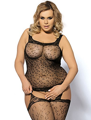 Plus Size Body Fishnet Stockings Sexy Lingerie Stretchy See Through Mesh Party Dress Open Crotch Slimming