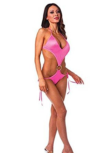 V Front One Piece With Ring (Neon Pink;One Size)