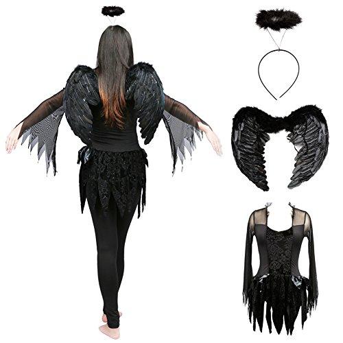 Halloween Fallen Angel Dress Dark Angel Costume With Feather Angel Wing And Headband